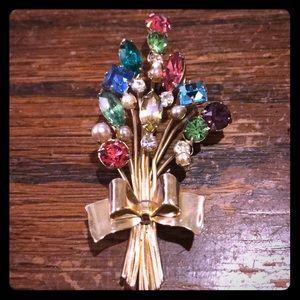 Gorgeous colorful rhinestone brooch